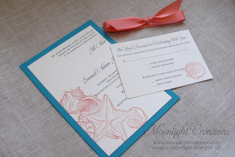 Etsy Beach Wedding Invitations: Beach Wedding Invitations Seashell Wedding Invites