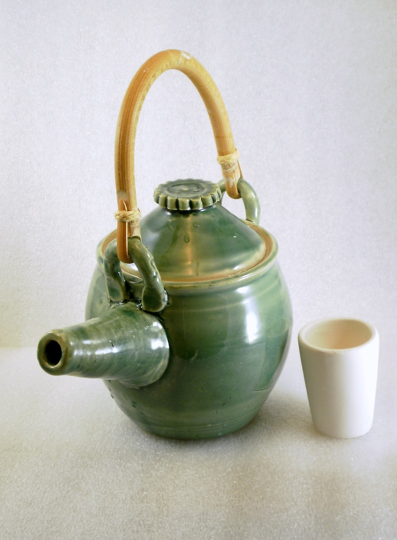 teapot with cane handle in celedon