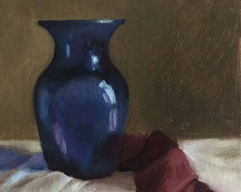 Petite Original Daily Oil Painting, Blue Vase, Realism, Still Life