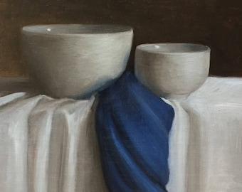 Petite Original Daily Oil Painting, Still Life, White Bowls, Kitchen Decor