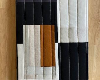 "Minimalist Abstract Quilt on Canvas, Modern Quilt Art 11"" x 14"""