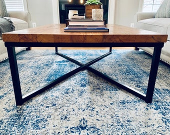Campbell Wood Coffee Table, Industrial Coffee Table, Reclaimed Wood Table, Side Coffee Table, Designer Living Room Coffee Table, Wood Table