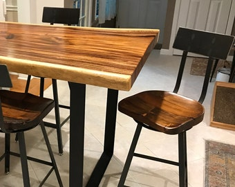 Brew Haus Swiveling Scooped Seat Wood Bar Stools, Counter Height Stools, Swivel Bar Stools, Farmhouse Bar Chairs, Industrial Bar Stools