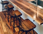 Scooped Seat Brew Haus Industrial Bar Stool, Bar Stools With Backs, Counter Stools, Reclaimed Wood Stools, Farmhouse Stools, Wood Bar Chairs