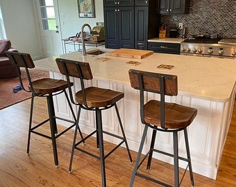 FREE SHIPPING - Swiveling Scooped Seat Industrial Bar Stool, Counter Stool with Swivels and Curved Wood Backs - Great for commercial or home