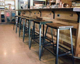Industrial Chic Reclaimed Wood Bar Stools, Counter Height Stools, Saddle Stools, Industrial Metal Stools, Vintage Bar Stools, Kitchen Stools