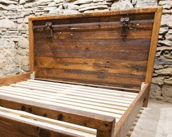 Wood Bed Frame, Barn Door Hardware, Reclaimed Wood Bed Platform, Headboard King, Queen Bed Frame, Solid Wood Bed, Antique Oak, Farmhouse