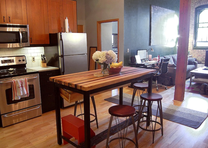 Butcher Block Kitchen Island With Industrial Base And Wine Rack