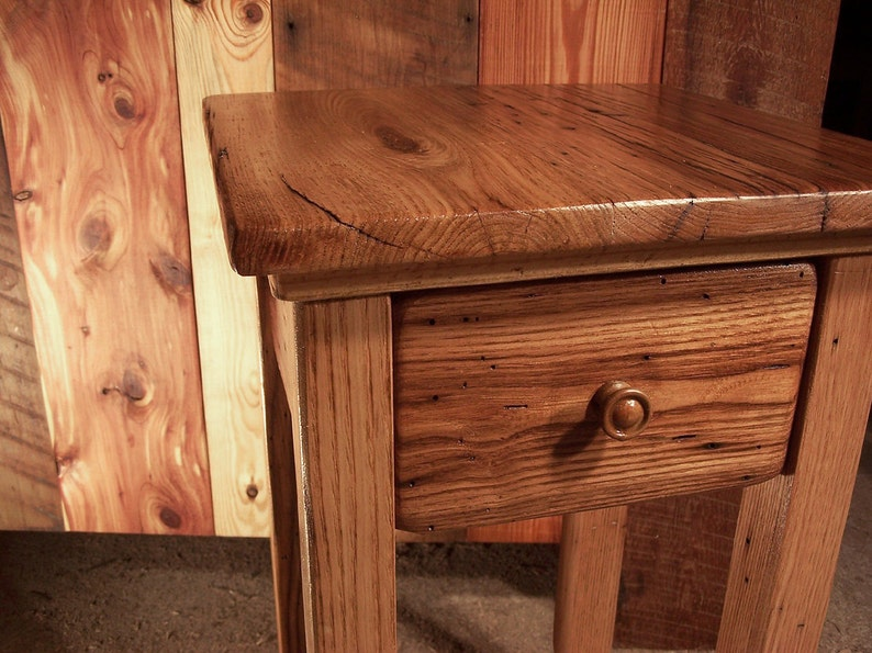 wormy chestnut reclaimed wood end table with drawer etsy