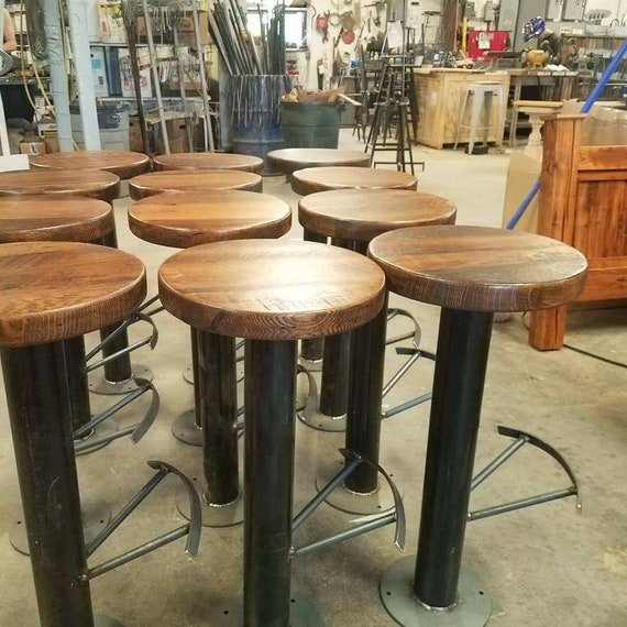 Excellent Free Shipping Bolt Down Urban Industrial Bar Stools With Foot Rest From Reclaimed Wood Commercial Grade For Restaurants Bars And Cafes Caraccident5 Cool Chair Designs And Ideas Caraccident5Info