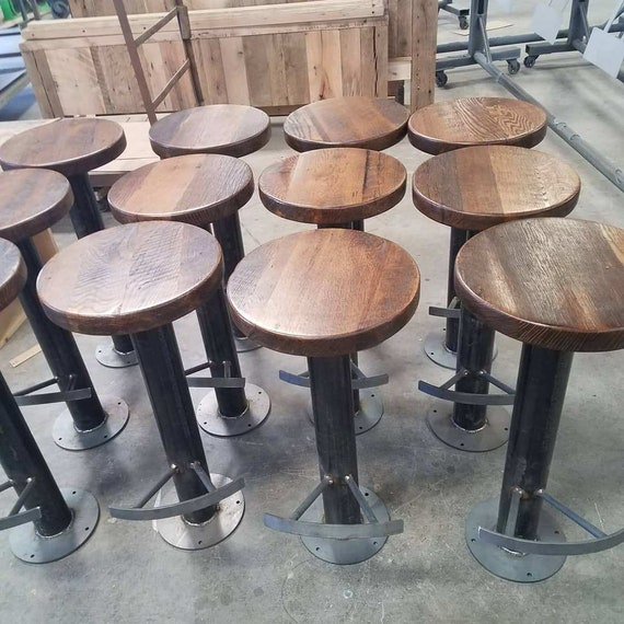 Fabulous Free Shipping Bolt Down Urban Industrial Bar Stools With Foot Rest From Reclaimed Wood Commercial Grade For Restaurants Bars And Cafes Caraccident5 Cool Chair Designs And Ideas Caraccident5Info