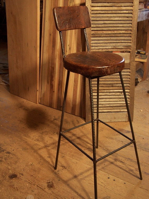 Reclaimed Oak Bar Stools With Industrial Rebar Legs And Back Etsy