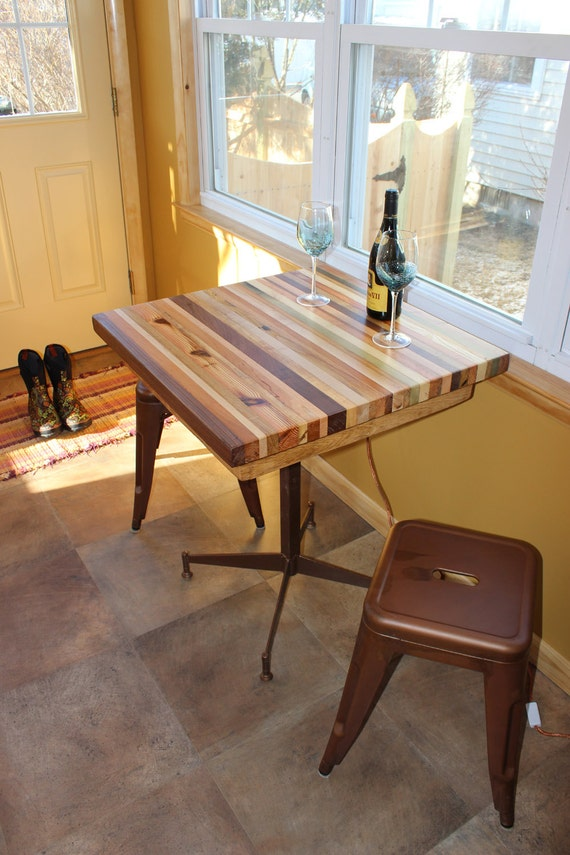Butcher Block Kitchen Table with Metal Base