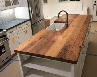 FREE SHIPPING, Reclaimed Wormy Chestnut Butcher Block Countertop, Wormy Chestnut Butcher Block Island, Reclaimed Wood Kitchen Countertops