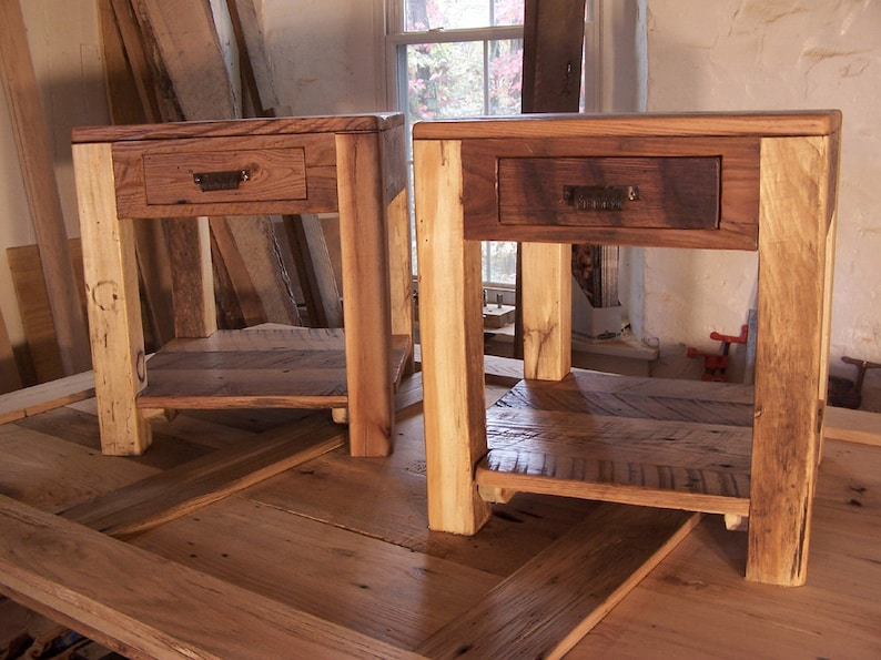 rustic parsons style end tables with drawer shelf and vintage etsyimage 0