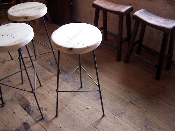 Phenomenal Free Shipping Factory Style Reclaimed Wood Bar Stools With Smooth Metal Legs Bralicious Painted Fabric Chair Ideas Braliciousco