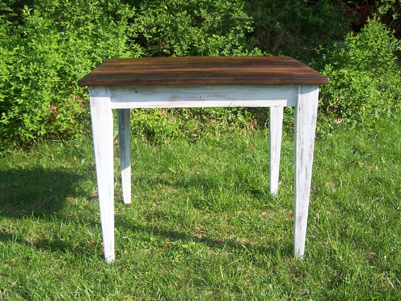 reclaimed wormy chestnut kitchen table with painted skirt etsyimage 0