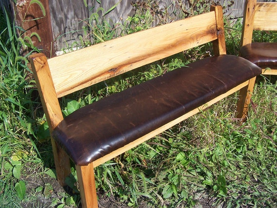 Surprising Custom Reclaimed Wood Farm Bench With Relaxed Back And Leather Seat Camellatalisay Diy Chair Ideas Camellatalisaycom