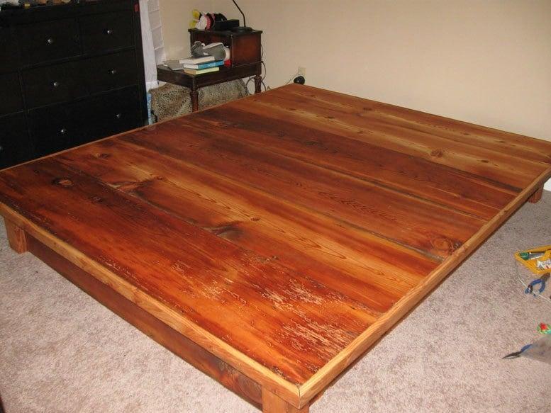 Marco de cama de plataforma con cajones de pino antigua   Etsy
