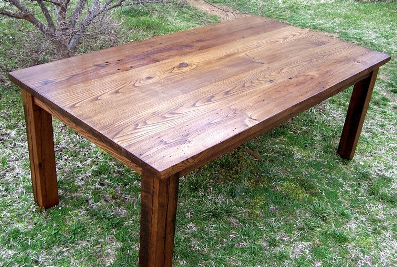 free shipping wormy chestnut thick plank farm table bunkhouse etsyimage 0