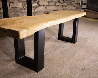 Live Edge Slab Bench, Wood Dining Table, Hardwood Table, Trestle Table, Industrial Bench, Natural Edge Bench, Wood Table Base,Cherry Table