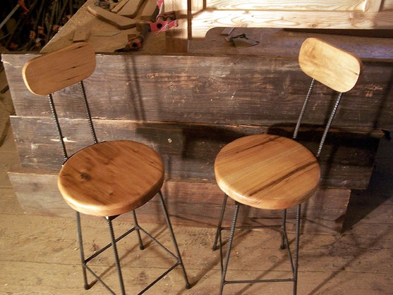 Astounding Reclaimed Maple Swivel Bar Stools With Rebar Legs And Back Rest Onthecornerstone Fun Painted Chair Ideas Images Onthecornerstoneorg