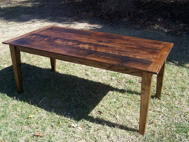 wormy chestnut farm table with extension etsyimage 0