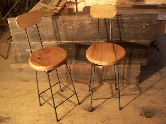 Stupendous Reclaimed Maple Swivel Bar Stools With Rebar Legs And Back Rest Onthecornerstone Fun Painted Chair Ideas Images Onthecornerstoneorg