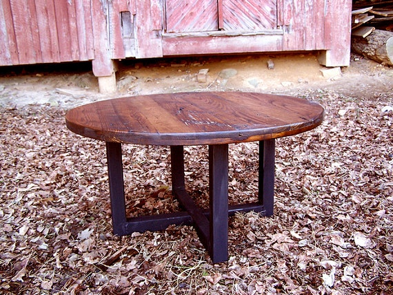 free shipping reclaimed wormy chestnut round coffee table etsyreclaimed wormy chestnut round coffee table with industrial metal base
