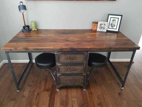 Wood Desk With Drawers Industrial, Custom Built Desk