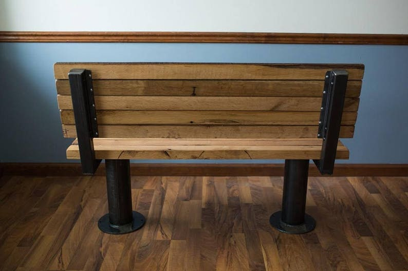 Perfect for restaurants bars and cafes! Bolt Down Urban Industrial Bench with Back from Reclaimed Wood Free Shipping