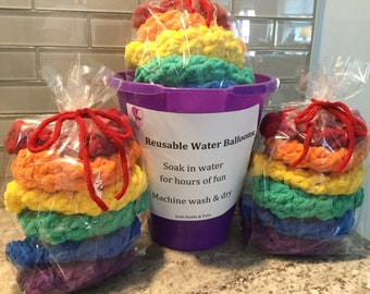 Rainbow Water Balloons - Reusable - pool fun - bath fun - children of all ages - free shipping