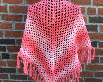 Ombre Fringed Shawl - Wrap - Ready to ship