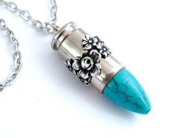 Upcycled Bullet Necklace Cowgirl Jewelry - Turquoise and Silver Ammo Jewellery