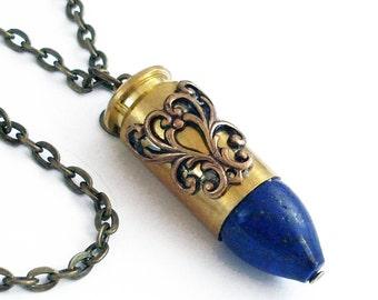 Blue Lapis Bullet Necklace