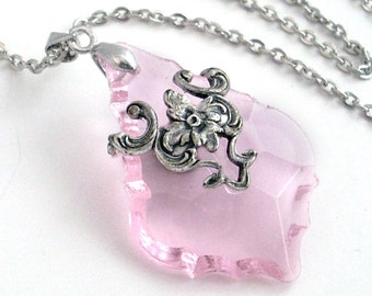 Pale Pink French Cut Prism in Silver Filigree Necklace