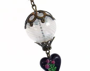 Hot Air Balloon Pendant Necklace Jewelry Jewellery - White