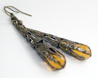 Amber Glass Drop Earrings Wrapped in Bronze Filigree Jewelry Jewellery