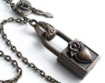 Chained and Locked Heart - Steampunk Functional Padlock Necklace