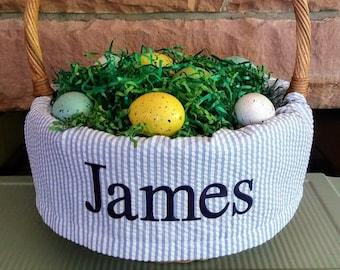 "Easter Basket Liner  Fits Pottery Barn Sabrina small basket or any 10-12"" basket.  Blue seersucker/button closure and monogram or name"
