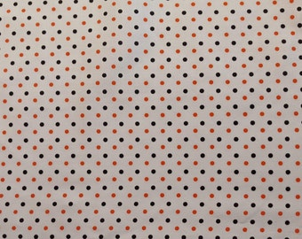 """Holly Holderman Lakehouse Dry Goods """"Polka Party Petite"""" Orange and black dots on white 1 yd + 3 in"""
