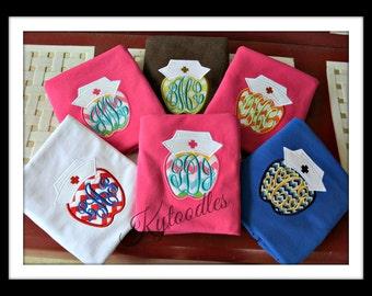 School or Student Nurse T-Shirt - Short Sleeve with Chevron Apple Applique & Monogram. Great gift for school nurses and student nurses.