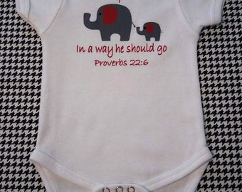 Elephant one piece Train up a child in a way he should go Proverbs 22:6 Gray Elephant design front and back of a onsie with crimson accents.
