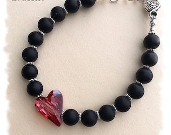 "Matte Black Onyx with Swarovski Heart Crystal, lg heart toggle w/1""chain, adjustable"