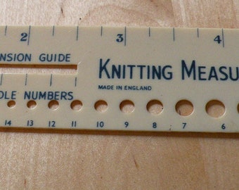 Vintage WB knitting needle gauge with tension slot