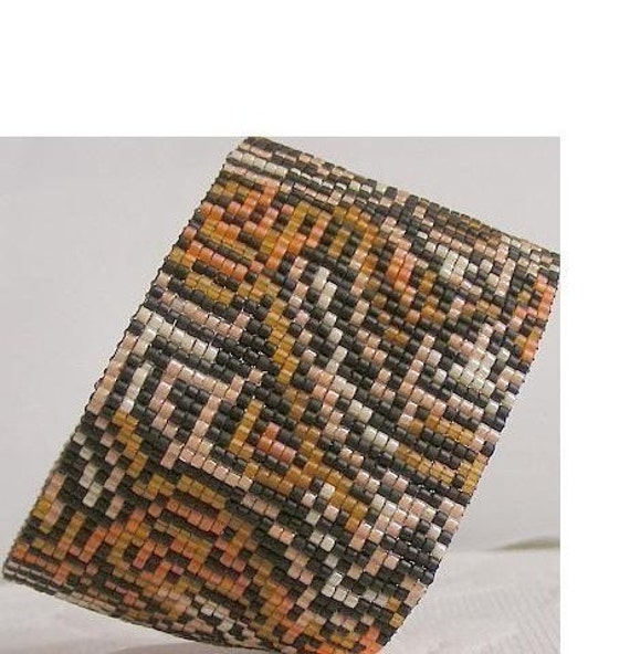 Tiger Mutation Cuff Bracelet 1 Drop Even Count Peyote Bead Pattern