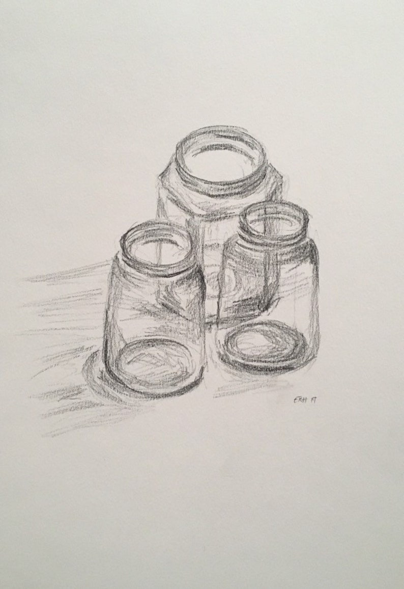 Glass jars still life pencil sketch kitchen art original fine art drawing on paper art artwork