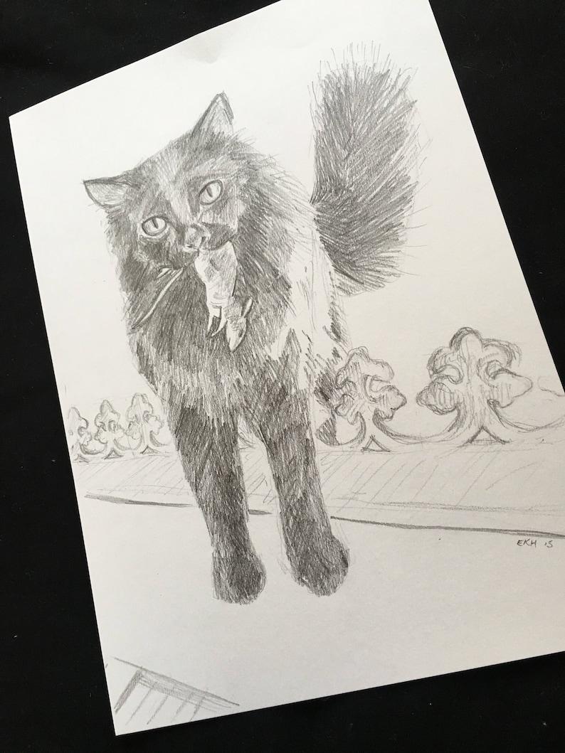 katze und maus katze zeichnung kunst original fine art  etsy