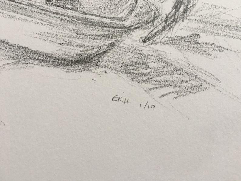 Original Fine Art Drawing on Paper Art Artwork Teapot and Clementines Still Life Pencil Sketch Kitchen Art