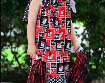 Girls UGA Dress, College Gameday Dress, Dawgs, Georgia Bulldog Dress, Pillowcase Dress, Team Spirit Dress Infant Toddler Girl Dress,